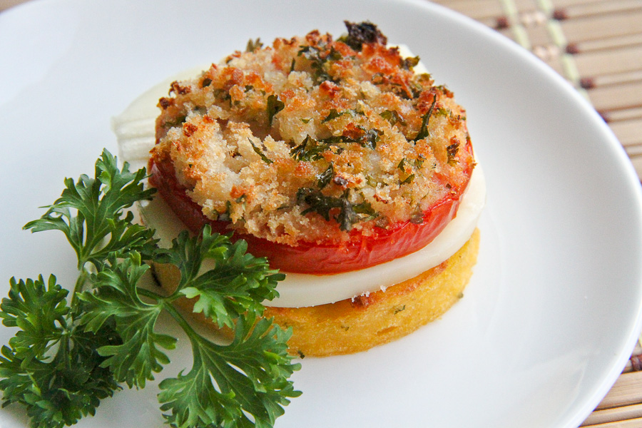 Polenta with Parmesan and Parsley, Mozzarella and Tomato - Lovely ...
