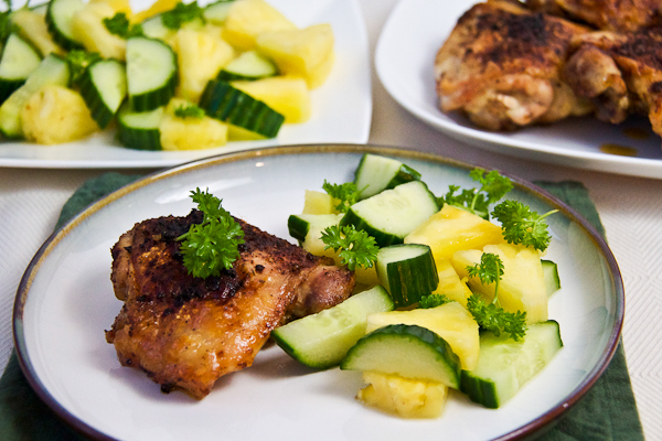 Broiled Chicken Thighs With Pineapple-Cucumber Salad - Lovely Pantry ...