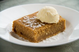 Cornmeal Pudding with Rum, Raisins and French Vanilla Ice Cream