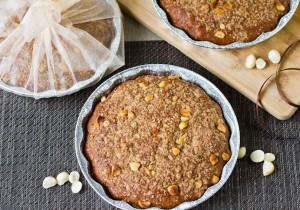 Banana Coconut Coffee Cake With Macadamia Nut Streusel