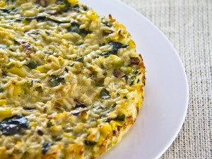 Risotto Pie, made with spinach, scallions, mushrooms, parsley and sweet corn
