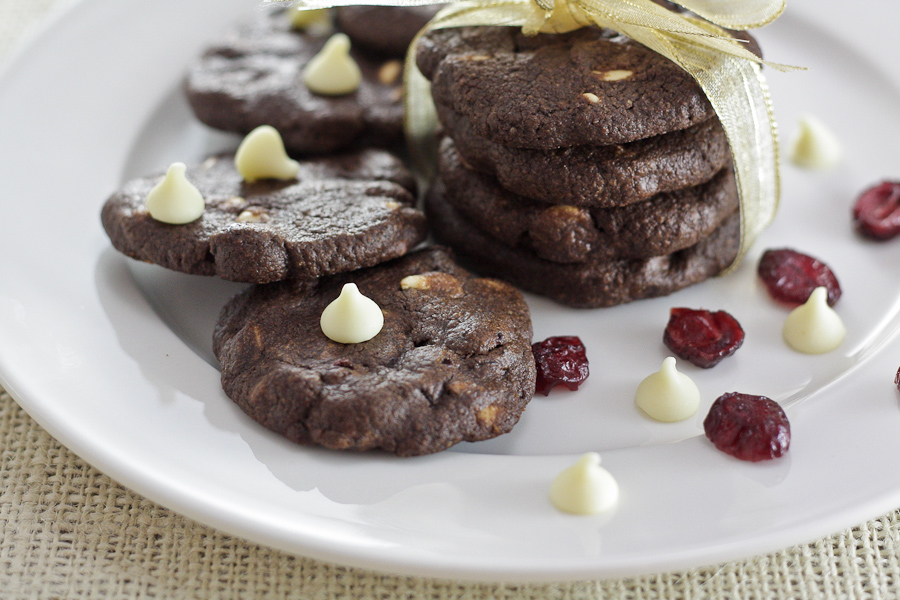 Double Chocolate Cranberry Cookies for #SundaySupper