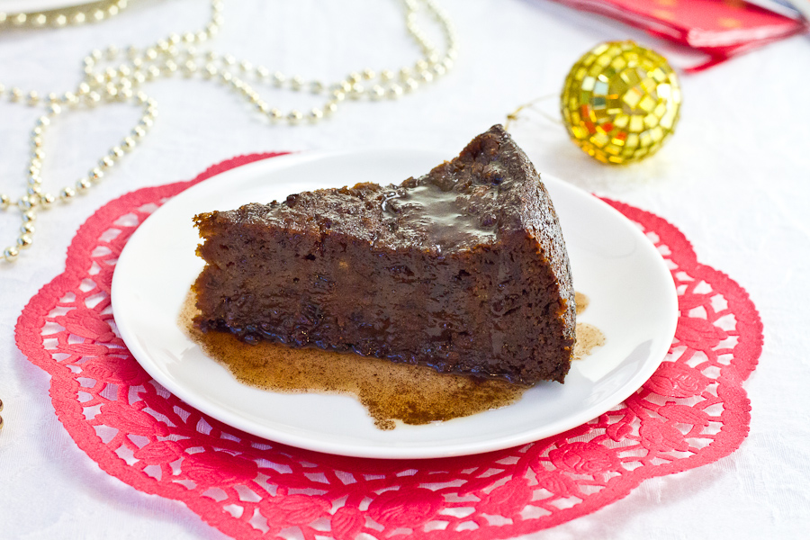 Jamaican Christmas Pudding with Hot Wine Sauce