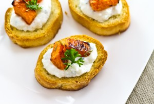 Roasted Pumpkin & Ricotta Crostini