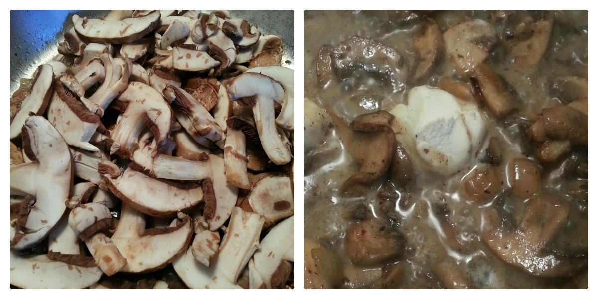 Mushrooms in skillet with chicken broth and mascarpone