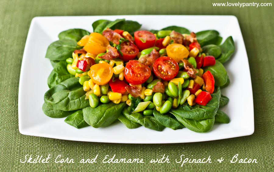 Skillet Corn Edamame with Spinach and Bacon