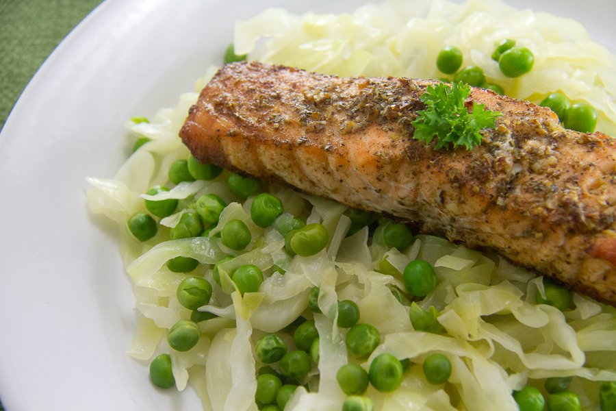 Herb Roasted Salmon with Steamed Cabbage & Peas for #SundaySupper